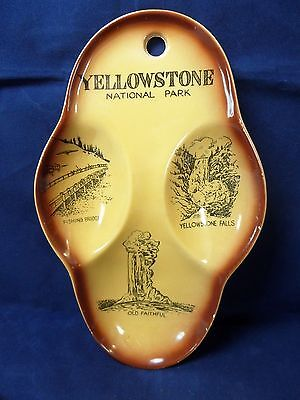 Vintage Yellowstone National Park Porcelain Spoon Rest Wall Hanging Gold