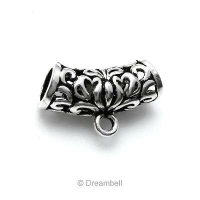 925 Sterling Silver Bali Flower Butterfly Leaf Tube Pendant Connector sb458b