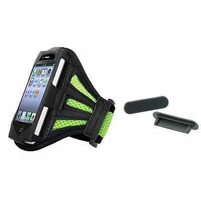 Green Armband Leather Case+2pcs Black Dock Plug Protector For iPod Touch 4 4G