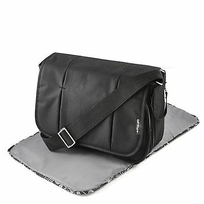 New Clair De Lune Black Oxford Deluxe Baby Maternity Nappy Changing Bag & Mat