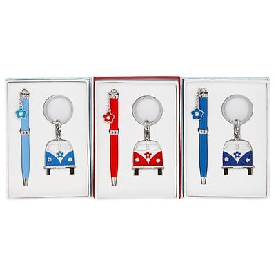 Retro Camper Van Pen & Keyring Set Stone Set Various Colours Boxed JD 35152