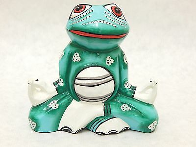 New Wooden Frog Yoga Meditation Hand Carved&Painted Sculpture Wood Statue #N1840