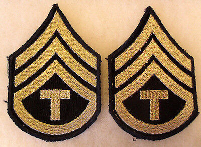 Hard To Find Wwii Green Back Army Chevron For Sgt One Rocker & T For Tech Pair