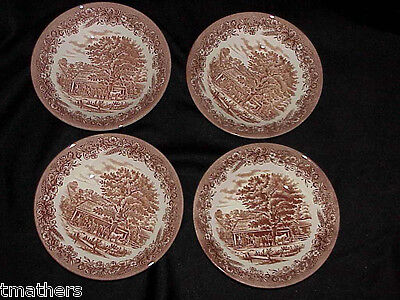 4 Churchill England Currier & Ives Soup Bowls NEVER USED