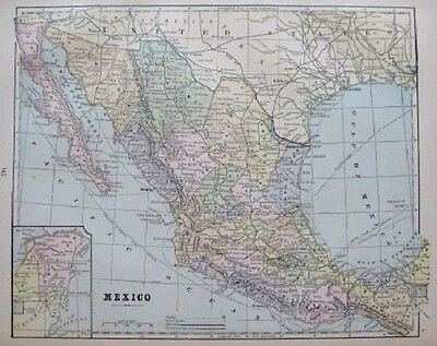 1891 Antique MEXICO and BAJA California Map Gallery Wall Art Map of Mexico 1285