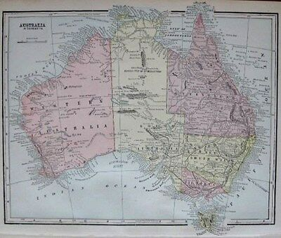 1900 Antique AUSTRALIA Map 1900s Vintage Map of Australia Gallery Wall Art 1291