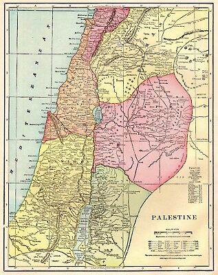 1911 Antique PALESTINE Map Gallery Wall Art Original Map of Palestine #1320
