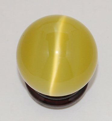 Cat's Eye 40mm Sphere Ball Globe Orb w/Stand, Yellow, New, USA Seller