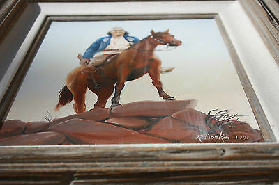 """Original Oil Painting by Robert """" Bob"""" Hoskin 1991 Indian on Horse"""