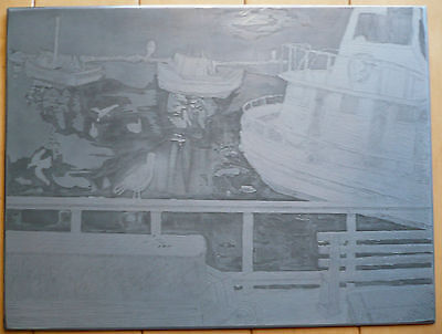 $225 Or Best!! Mystery Engraving, Harbor Scene Birds Boats Master Metal Plate