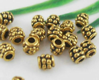 500 SILVER GOLD SMOOTH PLATED METAL TUBE FLOWER SPACER BEADS 7.5x3mm