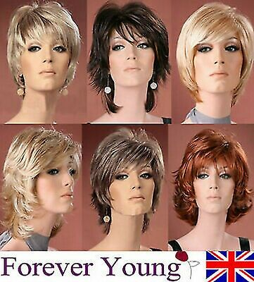 Ladies Short Wig Blonde Black Brown Wig Bob Pixie Boycut Wispy Fashion Wigs