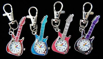 Free Shipping Cute Guitar Key Ring pocket quartz Watch Gift 4 colours UKK1