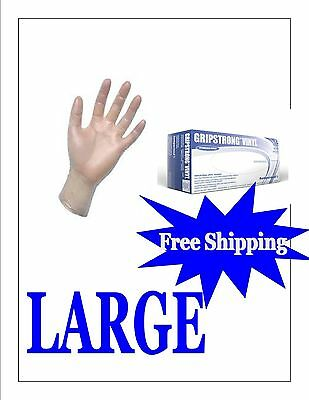 1000 Vinyl Disposable Gloves Powder Free (FOOD SERVICE) LARGE- FREE SHIPPING