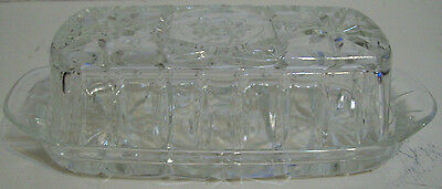 Vintage Star of David Clear Glass Butter Dish with Cover