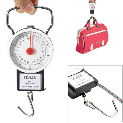 22kg Portable Weighing Hanging Scale Fishing Suitcase Luggage w/Measuring Tape