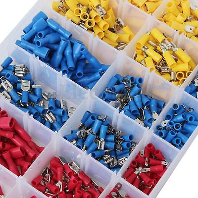 900Pcs Insulated Male/Female Spade Electrical Wire Crimp Terminals Connector Kit