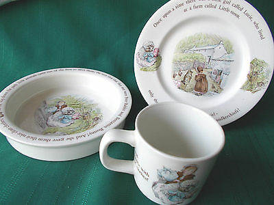 Mrs Tiggy Winkle Etruria WEDGWOOD CHINA Beatrix Potter Child Cup, plate, bowl