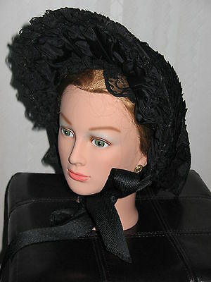 "Women Black Mourning Civil War Hat from Vintage Hat & Fabrics   ""redesigned"""