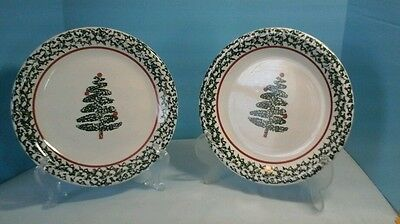 """SET OF 2 FURIO MADE IN ITALY 10-1/4"""" DINNER PLATE CHRISTMAS TREE"""