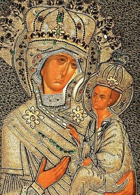 Madonna and Child Christ Russian Icon Wood Wall 6 1/4 Inch Tikhvin Mother Of God