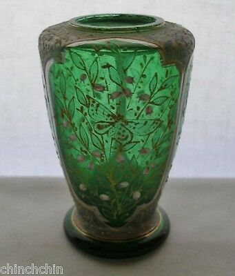 small INTENSELY Exquisite MOSER Glass VASE 1800s Hand Painted BUTTERFLY Blossoms