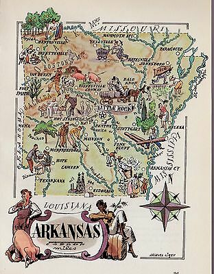 Whimsical ARKANSAS Map Golf Cotton Picking Hunting Rice 1950s Picture Map 1325