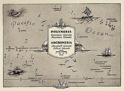 Charming OCEANIA Map POLYNESIA 50s Picture Map PACIFIC ISLANDS 1332