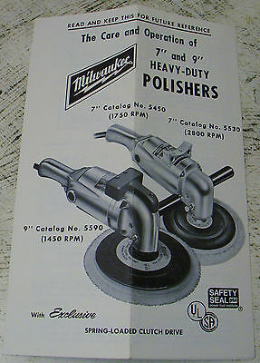 Milwaukee Care and Operations Manual for Heavy Duty Polishers - Folded Once