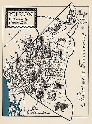 Charming YUKON CANADA Map Fun Funky 40s Picture Map GOLD Panning Fishing 1339
