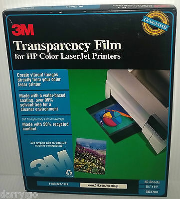 3M Transparency Film For Color Laser Printers CG3700 (50 Sheets) *NEW OPEN BOX*