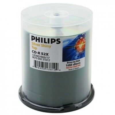 600 Philips 52x CD-R 80min 700MB Shiny Silver in Cake Box