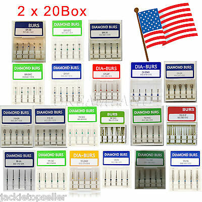200 Pcs Dental Diamond Burs Flat-end Medium FG 1.6mm High Speed Handpiece USA