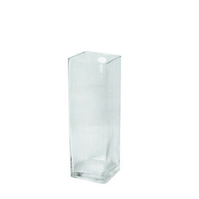 Bulk Lot 12 x Clear Squarer Glass Vases 30CM x 10CM Wedding Event Table Deco