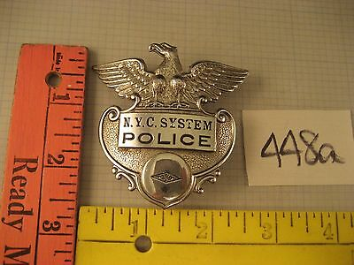 OBSOLETE NYC New York Central System POLICE BADGE cap hat Eagle F.G. Glover 448a
