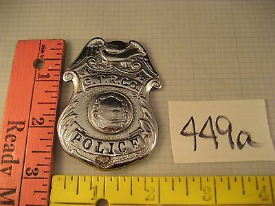 OBSOLETE GTR Grand Trunk Railroad POLICE BADGE brass vintage 449a
