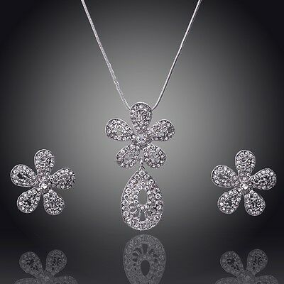 14k White GoldFilled Flower Austrian Crystal Necklace Earring Set Jewelry GP2682