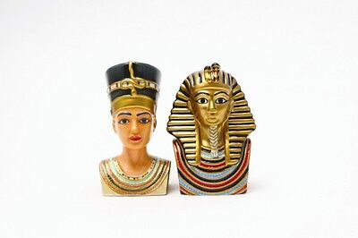 Egyptian King Tut & Queen Nefertiti Ceramic Salt & Pepper Shakers. Ancient Egypt