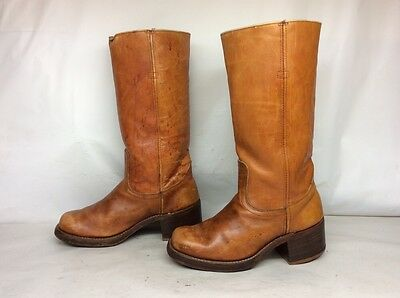 MENS UNBRANDED SQUARE TOE MOTORCYCLE LEATHER BROWN BOOTS SIZE 7 EE