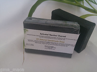 Handmade Soap/Activated Bamboo Charcoal/Shea Butter/Neem Oil/MSM/Acne/1 bar