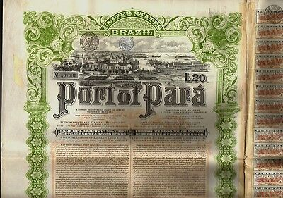 BRAZIL : PORT OF PARA GBP 20  dd 1907 with uncancelled dividend coupons