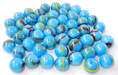 NEW 50 SERPENT 14mm BLUE SWIRL GLASS MARBLES TRADITIONAL COLLECTORS ITEMS