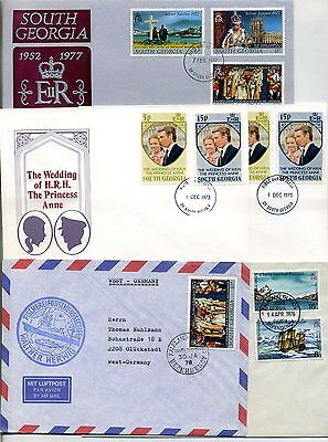 1973 -1978 South Georgia Südgeorgien fünf Briefe / FDC