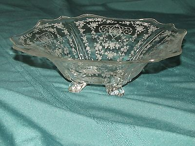"Vintage Cambridge Etched Glass Square Footed Bowl, 12 inch, ""Diane"""
