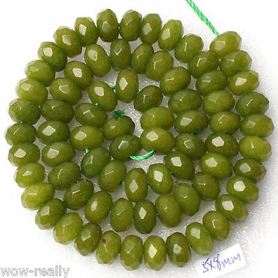 """Pretty 5x8mm Faceted Peridot Gemstone Abacus Jewelry Loose Beads 15""""AAA"""