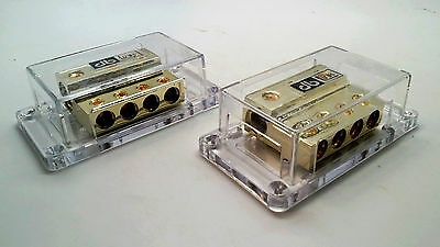 Pair DB Link Gold 0 4 Gauge AWG Amp 1/0 Power Or Ground Distribution Blocks GB01