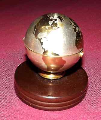 Brass Globe Table Lighter on wooden plinth hallmarked and working VINTAGE