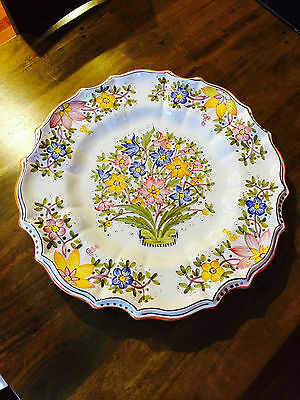 "Deruta Italian Decorative Plate (handmade, hand painted) 22"" dia, signed on back"