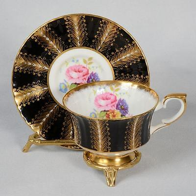 Paragon Teacup & Saucer - White/black With Fancy Gilded Design & Flowers