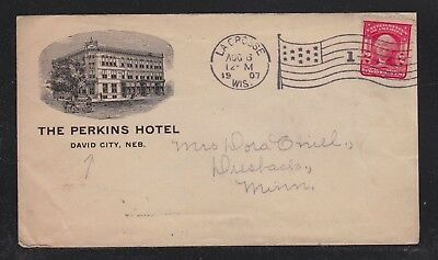 Usa 1907 Perkins Hotel Cover Lacrosse Wisconsin To Dresback Minnesota